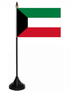Kuwait Desk / Table Flag with plastic stand and base.